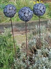 Set Of 3 Purple Metal Allium Flower Garden Ornament Decoration Plant Stakes