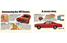 1971 PLYMOUTH DUSTER ~ ORIGINAL 2-PAGE SMALLER PRINT AD