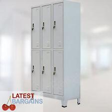 6 Door Metal Storage Locker Steel Cabinet Grey Gym School Office Change Room