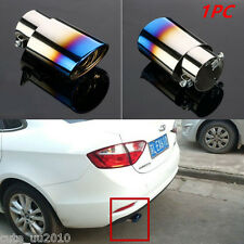 Car Stainless Steel Exhaust Tail Pipes Muffler Tips Chrome Titanium Blue 1PC New