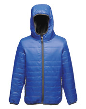 Regatta Kids Boys Girls Water Repellent Padded Jacket Coat With Hood Ages 3-12 Blue 7-8 Years