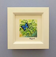 "Framed Original Miniature  Watercolour ""Ulysses Butterfly"" Cairns, Queensland"