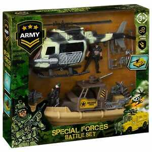 Kid's Special Forces Battle Set With Soldiers, Weapons,Helicopter & Marines Boat