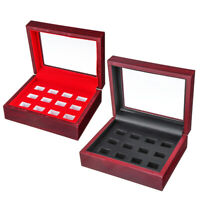 12 Holes Championship Rings Trophy Display Collection Case Wood Box Red Black