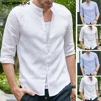 Vintage Men's Summer Beach Loose Tee Casual Collarless V Neck Shirt Tops Holiday