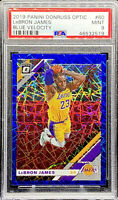 LeBron James 2019-20 Donruss Optic Blue Velocity Prizm #50 LA Lakers PSA 9