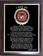 """7x9"""" MARINE WIFE PLAQUE - MAKES A WONDERFUL PATRIOTIC GIFT !"""
