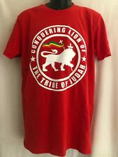 CONQUERING LION TRIBE OF JUDAH RASTA ROOTS RED T SHIRT EXCLUSIVE DESIGN