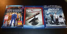 (3) BLU-RAY Lot   FAST Five/INGLORIOUS Basterds/NIGHT At  The Museum SMITHSONIAN