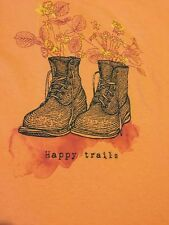 """LIFE IS GOOD """"HAPPY TRAILS"""" Hiking  S/S V-Neck Crusher Tee PEACH Womens S"""