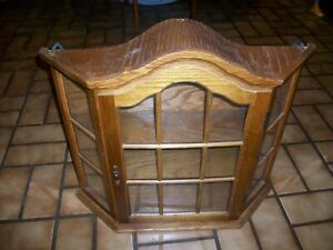 """SMALL 20x20x5"""" OAK & GLASS Wall or Table Display Cabinet"""