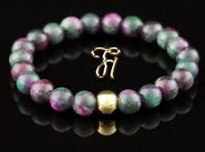 Jade Vert Rose 925 Argent Fin Plaqué or Bracelet Bracelet Bracelet de Perles