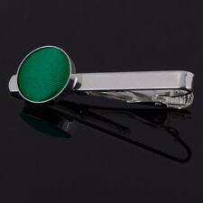 DQT Brass Fabric Inlay Tie Bar Plain Solid Emerald Green Mens Tie Clip