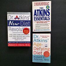 Lot 3 Atkins Diet Books New Diet Revolution Essentials Age Defying Diet Low Carb