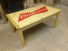 BESPOKE CARVED BUDWEISER COFFEE TABLE MAN CAVE LADY CAVE GAMES ROOM