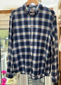 M/&S Pure Brushed Cotton Rrp £29.50 Long Sleeve Mens Check Shirt XXX-L Brand New