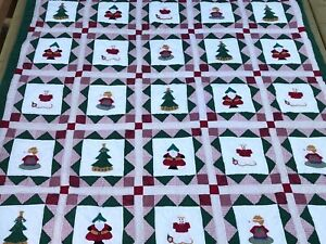 Christmas Quilt 80X81 with 2 Pillow Shams and Gingerbread Man Pillow