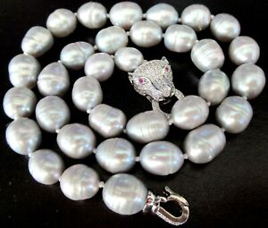 Gorgeous Genuine Gray Pearl Ruby Eyed Panther Head Quality Custom Made Necklace