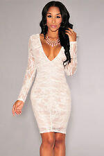 Abito ricamato nudo pizzo trasparente aderente Lace Nude Illusion Ruched Dress