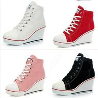 Fashion Women Shoes Canvas High Top  Wedge Heel Ankle Boots Walk Sneakers