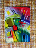 ACEO original pastel painting outsider folk art brut #010169 abstract surreal