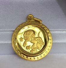 Zodiac 24K Solid Yellow Gold Animal Sign Round Monkey Charm/ Pendant, 2.52Gr