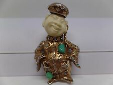HAR SIGNED VINTAGE LAUGHING BUDDAH BROOCH!