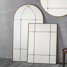 """Ariah Large Antique Gold Metal Frame Arched Rustic Wall Mirror - H55"""" x W30"""""""