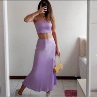 $39 NEW XS Satin Flowy Skirt ZARA Long Midi Unlined Lilac Purple Elegant