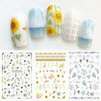 Flowers Leaves 3D Nail Stickers Colorful Transfer Decals Nail Art Decor Paper