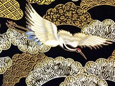 RPFMD321C Golden Crane Water Bird Kimono Japanese Obi Cotton Quilt Fabric
