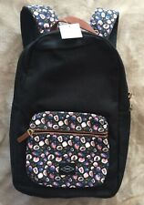 "FOSSIL Phoebe Women's School Campus Backpack Black Floral Fabric Laptop 15"" NWT"
