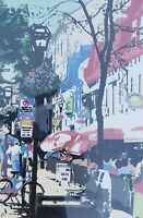 RARE SIGNED A. ARON STREET CAFE CITYSCAPE NYC NEW YORK CITY COLORFUL  ART PRINT