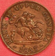 1857 Bank of Upper Canada Half Penny   ID #88-38