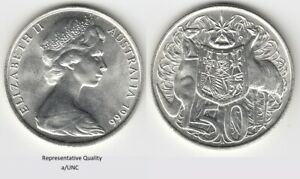 Australia 1966 Round 50 cent a/UNC High Silver Content 80% POST FREE Worldwide