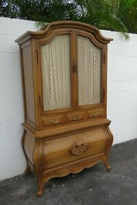 French Bombay Serpentine Carved Cherry Tall Armoire Wardrobe 2290