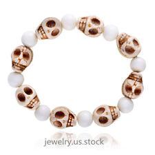 Men Punk White Tridacna Beaded Skull Elastic Adjustable Bracelet For Boy Gift