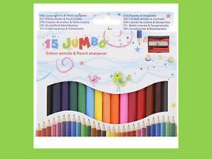 Buntstifte Malstifte Kinder 15 Farben JUMBO MINI Ersten Buntstifte + Anspitzer