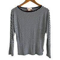 Michael Kors Jersey Top Size P/S White Black Striped Pattern Kimono Sleeve