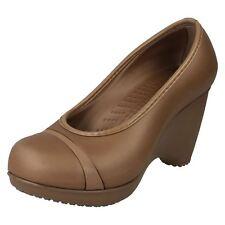 Ladies Crocs Wedge Heel Shoes Lena UK 3 Bronze Standard