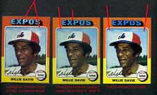 "1975 TOPPS #10 WILLIE DAVIS SUPER RARE ""CLOUDS""  EXPOS ALL 3 ERROR VARIATION"