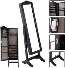 Lockable Mirrored Jewelry Cabinet Armoire Mirror Storage Box w/ Stand - Black