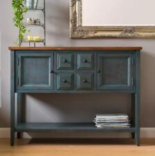 Large Vintage Console Table Wooden Hallway Furniture Country Storage Sideboard Navy