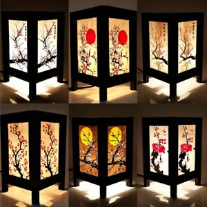 Asian Oriental Table Lamp Japanese Sakura Cherry Blossom Thai Vintage Handmade