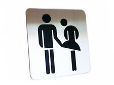 Toilet Symbol Door Sign Restrooms Unisex Bathroom Funny Stainless Steel
