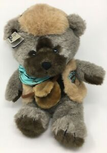 Emotions FRONTIER BEAR Large Stuffed Collectible Plush-Coonskin Cap-EUC-Tag-1986