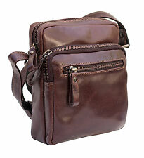 Prime Hide Milano Mens Brown Leather Small travel pouch Crossbody Bag Flight Bag