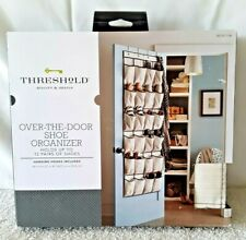 NIB ~ NEW ~ Over the Door ~ Tan Canvas 12 Pair Shoe Organizer 24 Pocket & Hooks