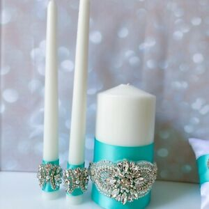 Unity Turquoise Candles Bride and Groom Gift Tiffany Wedding Accessories