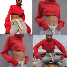New Womens Long Sleeve Turtleneck Casual Slim Sweater Knitted Crop Tops Jumper